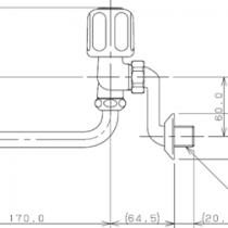 混合栓:2ハンドル混合栓(壁付)1280S-170